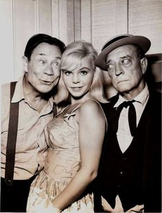 """Jennie Maxwell flanked by Joe E. Brown, who plays her grandfather, and Buster Keaton, who plays her great uncle, in """"Journey to Nineveh"""", an episode of CBS' """"Route 66"""". It was the series' first comedy offering."""