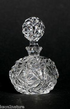 Tiffany Co Rock Cut Crystal Perfume Bottle w Stopper Fine Crystal | eBay