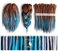 Wool Dreadlocks, woolen brown-blue dreads, felted, handmade dreads 35DE