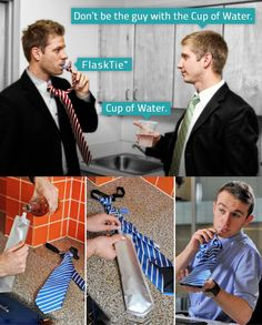 Flask Tie!   Stay hydrated at the office with this FlaskTie™