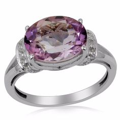 3.3ct Pink Amethyst White Topaz 925 Sterling Silver Ring Valentine Gift Jewelry #Unbranded #SolitairewithAccents #ValentinesDay