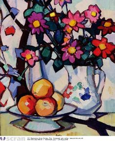 flowers and fruit by Samuel John Peploe (1871-1935). – still life – oil on canvas. – Samuel John Peploe was a Scottish Post-Impressionist painter, noted for his still life works and for being one of the group of four painters that became known as the Scottish Colourists. The other colourists were John Duncan Fergusson, Francis Cadell and Leslie Hunter.