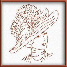 VICTORIAN WOMEN FACES REDWORK  #embroidery #machineembroidery #patchwork Hat Embroidery, Hand Work Embroidery, Silk Ribbon Embroidery, Vintage Embroidery, Cross Stitch Embroidery, Machine Embroidery Designs, Embroidery Patterns, Victorian Hats, Victorian Women