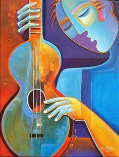 Joseph Abhar - Abstract Acrylic Painting Guitars by Marlina Vera.