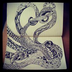 Zentangle Octopus by Artistic-Endeavors on deviantART
