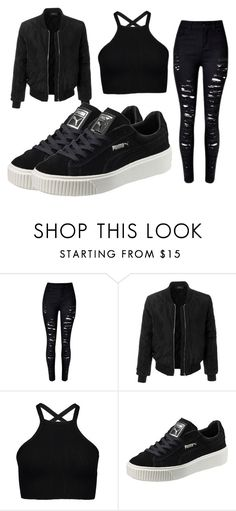 """Black-ish"" by keirahjade10 ❤ liked on Polyvore featuring LE3NO and Puma"