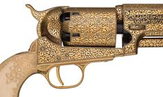 A pair of cased and gold inlaid Colt Model 1848 percussion revolvers with carved ivory grips, marked as property of the Maharaja of Jaipur Rahm Singh II.