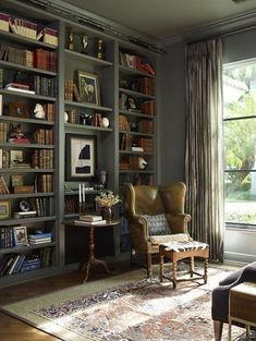 Cozy Home Library, Home Library Rooms, Home Library Design, Home Libraries, Home Office Design, House Design, Library Wall, Library Ideas, Library Study Room