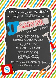 Tool party invitation tool time birthday by chalkolatecake on etsy items similar to tool time handyman construction birthday invitation or tool wedding shower printable cupcake topper water bottle label on etsy filmwisefo