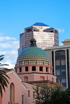 Tucson is a study of contrasts -- historic and modern. In foreground is 'the old' Pima County Courthouse, beautiful tiled dome, inside courtrooms are original, fabulous. It is still our County Courthouse even though dubbed 'the old'.