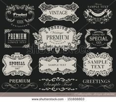 calligraphic typographic design elements and page decoration/ vector set