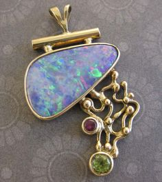 14k Gold Pendant with Opal Peridot and Ruby by AGRDesigns on Etsy, $445.00