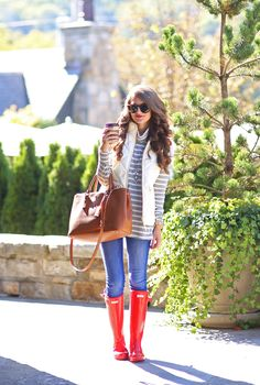 Hunter boots, stripes, vest, autumn, fall
