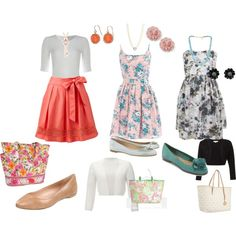 feminine and pretty teacher clothes and it features a VB go round tote in Tea Garden ;) LOVE!