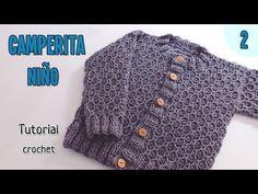 Pullover niña a crochet Knit Cardigan Pattern, Crochet Cardigan, Crochet For Boys, Crochet Baby, Liliana Milka, Baby Knitting Patterns, Crochet Patterns, Crochet Videos, Vogue Knitting