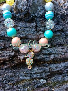 Pastel Seahorse Bubble Gum Chunky Bead Necklace by EarthMetalPaper
