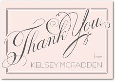 Elegant Wishes Signature White Thank You Cards Sarah Hawkins Designs Chenille Pink