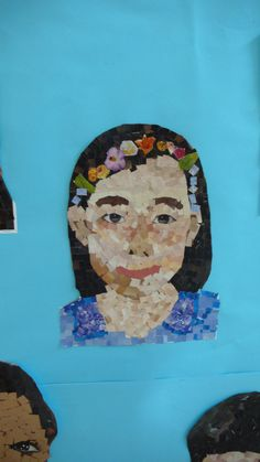 I took a picture of each of my student, printed their photos out and had them cut out different magazine pages into squares.  They glued the squares onto their pictures and created their own mosaic portrait. Twitter @clutzia331 www.ms-claudia.com