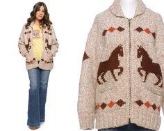Cowichan Cardigan Horses Sweater 70s Boho by GravelGhostVintage, $122.00