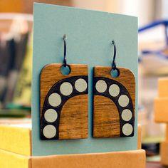 Wood Laser Cut - Deco Dot Design Earrings by Irousseau via Etsy