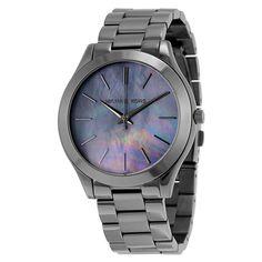 Michael Kors Slim Runway Grey Dial Gunmetal-plated Ladies Watch MK3413 #MichaelKors