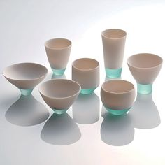 By fusing of porcelain and glass, Misa Tanaka has created some vessels called, Shizukana Sora (Quiet Sky), taking second place in this years Takaoka Crafts Competition in Japan. Shizukana Sora by Misa Tanaka, Second Prize at Takaoka Crafts Competition Glass Ceramic, Ceramic Pottery, Ceramic Art, Ceramic Cups, Porcelain Clay, Cerámica Ideas, Keramik Design, Design Industrial, Paperclay