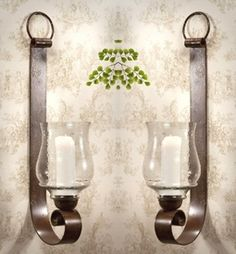 ME2231 - Bronze Iron Loop Wall Sconce with Hammered Globe, Set of 2 - Candle Holders