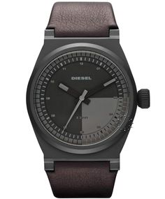 DIESEL Analogue Brown Leather Strap  Τιμή : 135€  http://www.oroloi.gr/product_info.php?products_id=31995