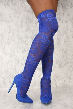 Sexy Royal Blue Embroider Lace Pointy Toe Thigh High Heel Boots #highheelsboots #highheelbootsstilettos