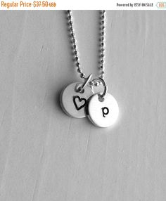 On Sale Initial Necklace Letter p Necklace by GirlBurkeStudios