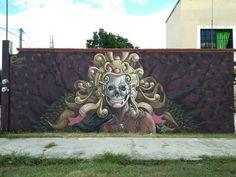 Street art México Amauri esmarq Ah Puch, Festival de Arte Urbano: Bacalarte, Esmarq, Bacalar, Quintana Roo, México, 2017 Aztec Warrior, Murals Street Art, Urban Art, Maya, Cool Art, Lion Sculpture, Hand Painted, Statue, Painting