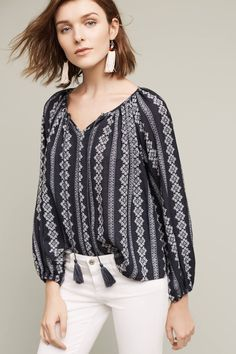 Shop new women's clothing at Anthropologie to discover your next favorite closet staple. Check back frequently for the latest clothing arrivals! Fashion Resume, Navy Blue Blouse, Boho Fashion, Womens Fashion, Peasant Tops, Back Home, Business Casual, New Outfits, Shirt Blouses