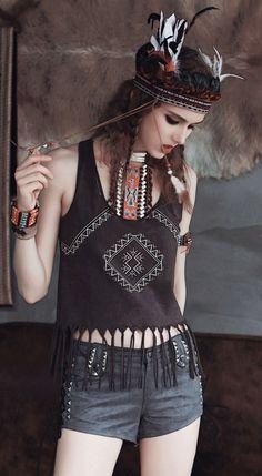 Fashiontroy Bohemian sleeveless crew neck brown cropped fringe cotton blend tank