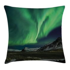 East Urban Home Ambesonne Aurora Borealis Throw Pillow Cushion Cover, Aurora Polaris Above Mountains In Night Picture, Decorative Square Accent Pillow Outdoor Throw Pillows, Accent Pillows, Floor Pillows, Green And Grey, Blue Grey, Night Pictures, Throw Pillow Sets, Decorative Throw Pillows, Indoor Outdoor
