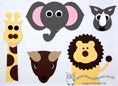 African Safari 'Big 5': Giraffe (not leopard - deliberately!), lion, elephant, rhino, buffalo. Uses owl punch, circles, scallop circles, ornament punch, bird builder punch, small oval punch.