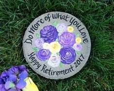 Hand painted garden stones and wedding glassware by Nurse Retirement Gifts, Nurse Gifts, Teacher Gifts, Retirement Planning, Gift For Retiring Teacher, Employee Appreciation Gifts, Employee Gifts, Unique Gifts For Women, Garden Stones