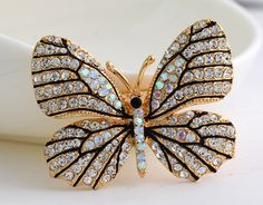 High Quality Fashionable Rhinestone Butterfly Brooch Pin Gold Women Dress Wedding Bridal Brooch Pin-in Brooches from Jewelry & Accessories on Aliexpress.com | Alibaba Group