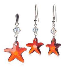 Srebrny komplet w kształcie gwiazdy - kolczyki i wisiorek z kryształem Swarovskiego