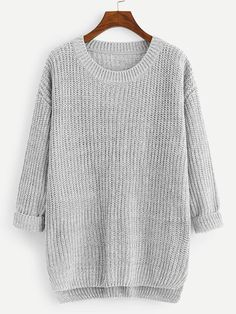 CRYYU Women Oversize Thicken High Low Ribbed Kintted Loose Pullover Sweater