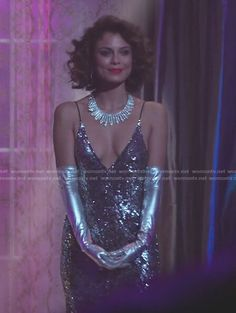 Cristal's sequin v-neck gown on Dynasty. Outfit Details: https://wornontv.net/82147/ #Dynasty