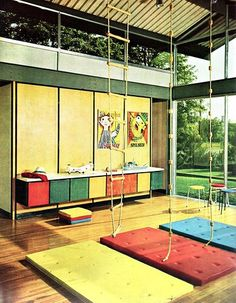retro mod playroom w/ clerestory windows (plenty of natural light) & gym mats