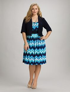 Plus Size Blue Chevron Jacket Dress