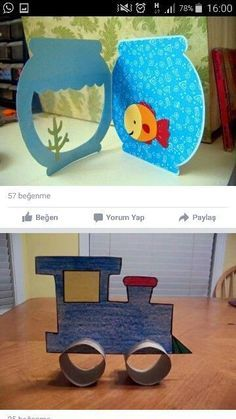 This little fish bowl could be made of felt and the fish could be changed out along with little castles and sea weeds.This says: Kinder / Basteln Projects For Kids, Diy For Kids, Craft Projects, Crafts For Kids, Fish Crafts, Diy And Crafts, Arts And Crafts, Art N Craft, Animal Crafts