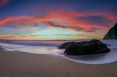 Gray Whale Cove Sunset  Another old shot I found when looking through my library.  Canon 7D 8-15mm f/4 Fisheye ISO 100 f/22 2.0 Seconds.