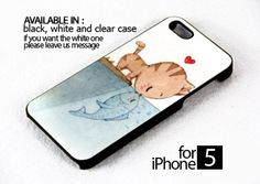 AJ 252 Cat Fall in Love with Fish - iPhone 5 Case | FixCenter - Accessories on ArtFire