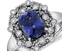 Iolite and Diamond Ring  in 14k White Gold