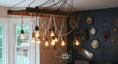 Rustic Chandelier With a Bit of Glam for your Dining Room Ceiling Most people use ladders outside, b Twig Chandelier, Chandelier Makeover, Outdoor Chandelier, Add A Room, Cinder Block Walls, Cabin In The Woods, Living Room Remodel, Wooden Diy, Making Ideas