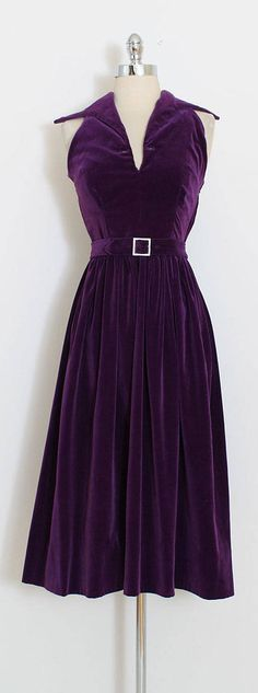 ➳ vintage 1950s dress & jacket * beautiful royal purple velvet * halter dress with rhinestone buckle belt * matching button front jacket * side zipper closure condition | excellent fits like xs/s dress length 49 bodice 19 bust 36 waist 26 jacket length 16 shoulders 15 sleeves 22.5 some clothes may be clipped on dress form to show best fit for appropriate size. ➳ shop http://www.etsy.com/shop/millstreetvintage?ref=si_shop ➳ shop policies http:/&#x...
