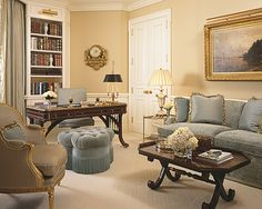 I adore these shades of blue and beige together. The Enchanted Home: Designer spotlight: Scott Snyder