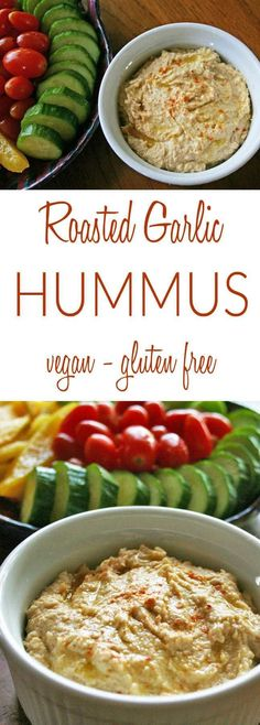 Roasted Garlic Hummus (vegan, gluten free) - Roasted garlic adds a sweet mild flavor to this creamy dip. It is easy to make and cheaper than store-bought! Easy Appetizer Recipes, Healthy Appetizers, Delicious Appetizers, Appetizer Ideas, Delicious Food, Gluten Free Snacks, Vegan Snacks, Vegan Sweets, Vegan Foods